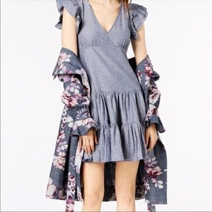 Jill Jill Stuart chambray cap sleeve ruffle dress